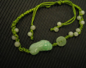 Chinese . PIXIU / Ancient Coin.... Natural Jade Bracelet . Handknotting Jewelry