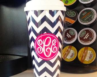 Personalized Coffee Tumbler - Chevron