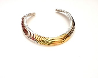 Vintage Designer Gold and Silver Choker Necklace  by Alexis Kirk c. 1980s