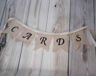 Burlap Cards Wedding Banner, Burlap Wedding Banner, Burlap Decor, Vintage Wedding Banner, Rustic Burlap Banner, Burlap Garland,