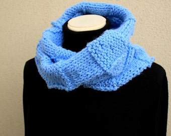 Knitted Neckwarmer in light blue -Scarf - Handmade by T. Catana - Made to Order: 3-4 business days.