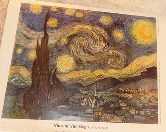 A Starry Night by Vincent Van Gogh Vintage print from ''My Weekly Reader Art Gallery 2''