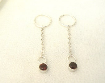 Sterling Silver and Garnet long Earrings - Jewelry chain red gemstones 925