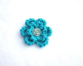Flower Brooch, Turquoise Flower Pin, Mothers Day Gift, Teal Flower Pin with Silver Button, Gifts Under Ten Dollars by Charlene, Hat Pin