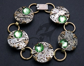Steampunk Bracelet ~ Watch Movements Set with Peridot Green Rhinestones ~ Brass Links ~ Foldover Clasp ~ #B0129 by Robin Taylor Delargy