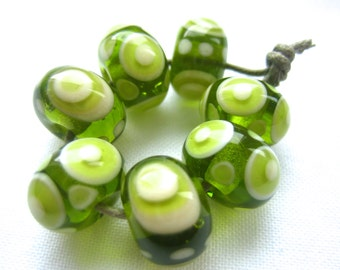 Mojito Green and White Lampwork Beads, FHF, SRA, UK Seller