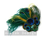 Emerald City Green Ostrich and Peacock feather fascinator (5 fastern options) Kaleea design for fairy,victorian,classic wedding,mardi gras