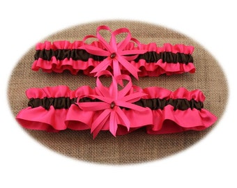 Hot Pink and Brown Wedding Garter Set