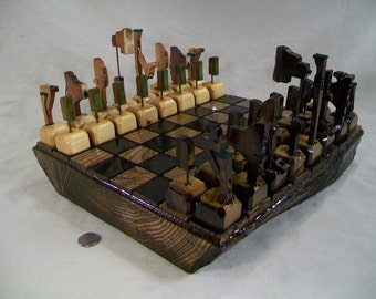 Rustic Chess Set - Made with antique piano parts and log slab board