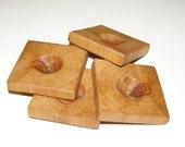 "4 Handmade apple wood buttons, accessories (1,77x1,77"" diameter x 0,31"" thick)"