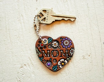 MOM Leather Heart Key Fob - Floral Pattern Keychain - Mother's Day - hand painted and stamped - Mesa Dreams - Custom Gift