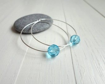 Silver earrings single turquoise bead large hoop earrings summer