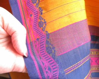 Gold Navy and Pink Vintage Silk Sari or Saree Embroidered Fabric Yardage