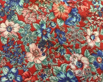 Rose & Hubble Red Floral Quilting Cotton Fabric Yardage