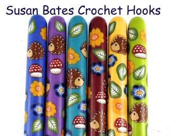 Susan Bates Polymer Clay Covered Crochet Hook, Hedgehog Design