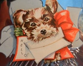 Vintage Greeting Card Christmas Aluminum with Small Card with Dog 1940