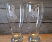 Wyoming Cowboys Pair of Etched  Pilsner - Ready to ship today