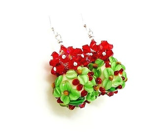 Green Red Floral Earrings, Christmas Earrings, Lampwork Earrings, Glass Earrings, Mistletoe Earrings, Cluster Earrings, Glass Beads Jewelry