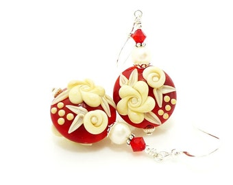 Red & Ivory Earrings, Lampwork Earrings, Glass Earrings, Pearl Earrings, Beadwork Earrings, Cameo Rose Earrings, Christmas Earrings