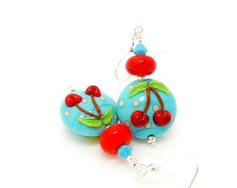 Blue & Red Cherry Earrings, Lampwork Earrings, Glass Earrings, Beadwork Earrings, Unique Earrings, Dangle Earrings, Beadwork Earrings