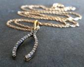 Pavé Diamond Wishbone Necklace. Diamond Jewelry