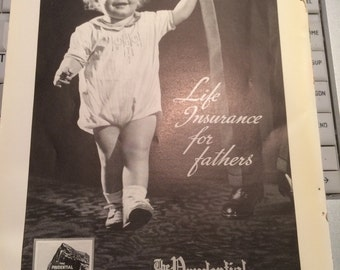 Prudential Insurance Company of America print ad baby and father.