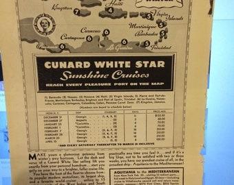 1935 Cunard White Star Cruise ad Sunshine Cruises for Winter enjoyment. Mediterranean.