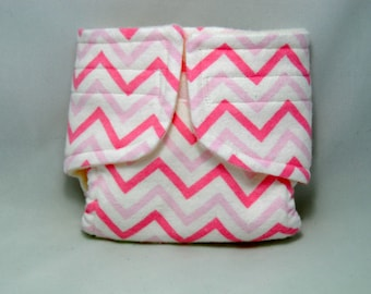 Baby Doll Diaper Pink Chevron - Size Large