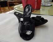 Vintage 1950s Black MY WILLIAMS Mule Springolator Shoes Sz 6 USA