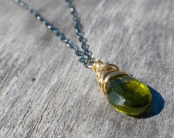 Ready To Ship -  Vesuvianite Drop Necklace