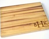 Personalized Monogram Butcher Block Cutting Board Laser Engraved Walnut 11x15x1.5 Inch Wood Cutting Board