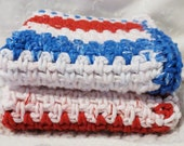 Red, White, and Blue Cotton Crocheted Wash Cloths Set of Two Handmade