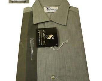 Vintage 1950s 1960s Sage Green Cotton Rockabilly Shirt Size 15-1/2 Medium DEADSTOCK By Wakefield Never Worn NOS