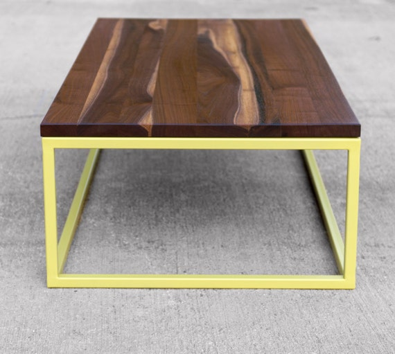 Walnut Coffee Table With Painted Metal Base Customizeable