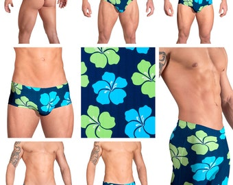 Green-Turquoise Hibiscus Ribbed Mens Swimsuits by Vuthy Sim.  Choose from Thong, Bikini, Brief, Squarecut, Boxer, Board - 112