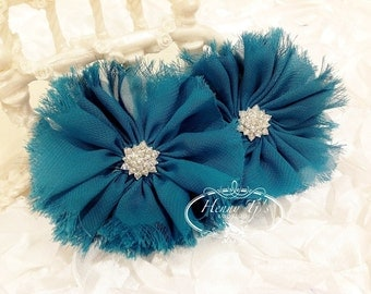 "2 pieces 3"" Adeila - TEAL Shabby Frayed  Chiffon Ruffle Flowers with Rhinestone,applique , hair accessories"