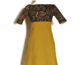 Mustard Yellow & Green Paisley High Waisted Dress- Made by Dig For Victory