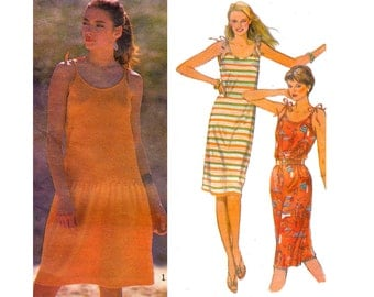 80s Stretch Drop Waist Sun Dress Pattern Style 3366 Vintage Sewing Pattern Size 8 10 12 14 Bust 31 1/2 32 1/2 34 36 inches UNCUT F F