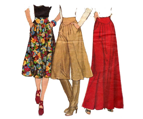 70s pleated skirt maxi skirt culottes pattern simplicity