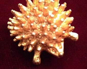 Hedgehog pin brooch. Gold color. Vintage