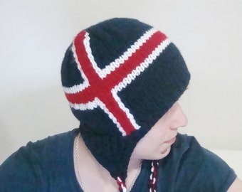 Knit Iceland Flag Hat - Handmade with earflap Icelandic hat hand knit