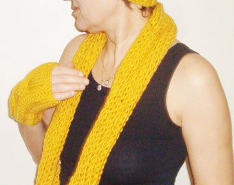 Mustard knitted scarf hat gloves Autumn colors scarf Mustard scarf hat gloves knit scarf Womens accessory gift for her