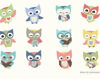 50% OFF SALE School Owl Clip art 01 - 12 Digital Clipart Set for digital scrapbooking, frame, tag, lable, invitation, stationery