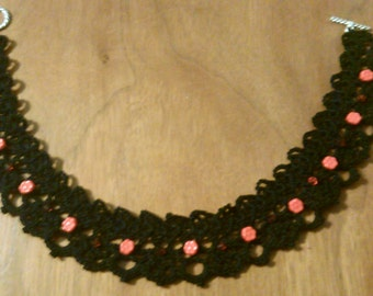 Miss Scarlet- Black Lace Crocheted Choker Necklace with Red Glass Flower and Bicone Beads