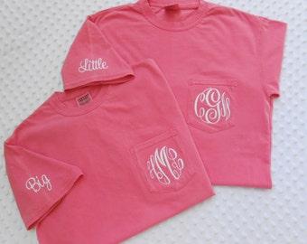 Monogrammed Comfort Colors Adult  Short Sleeve Pocket  Shirt with Big or Little monogrammed on sleeve