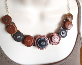 Leather button necklace