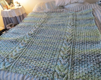 Knit by hand Sea Dream Horseshoe Cable Afghan in 20 % wool