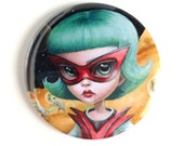 Pretty Pocket Mirror - Astro Girl on Caturn - pocket mirror by Mab Graves