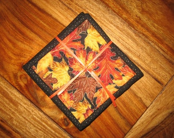 Coasters, Fall Leaves on Black Secret Santa Stocking Stuffer