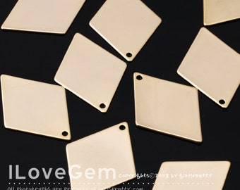 NP-1659 Gold Plated, Rhombus, 15X21mm, S size, Pendant, 4pcs
